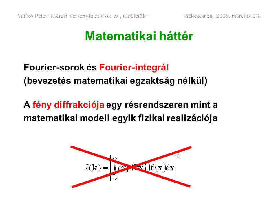 Matematikai háttér Fourier-sorok és Fourier-integrál
