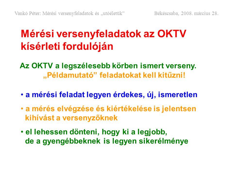 Mérési versenyfeladatok az OKTV kísérleti fordulóján