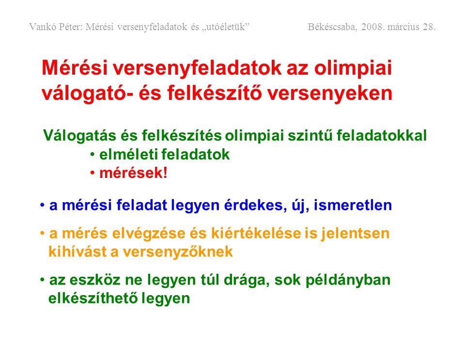 """Vankó Péter: Mérési versenyfeladatok és """"utóéletük . Békéscsaba, 2008"""