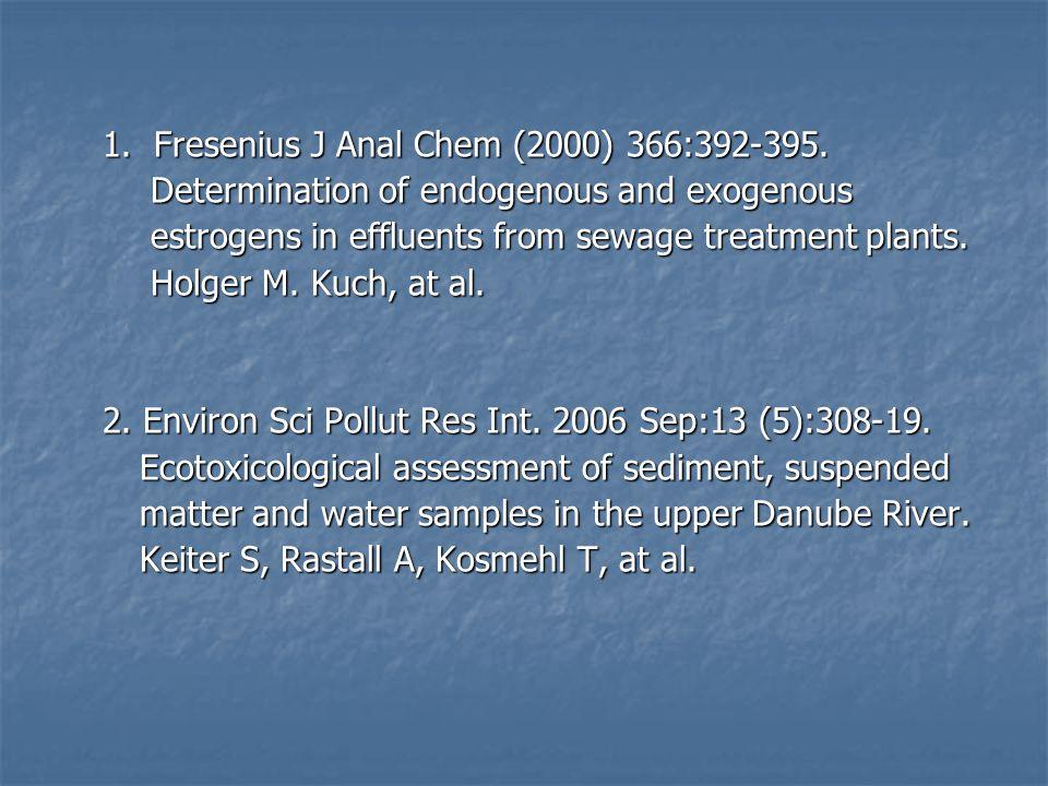 1. Fresenius J Anal Chem (2000) 366:392-395.