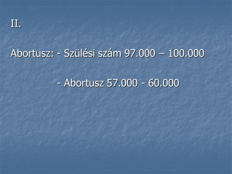 II. Abortusz: - Szülési szám 97.000 – 100.000 - Abortusz 57.000 - 60.000