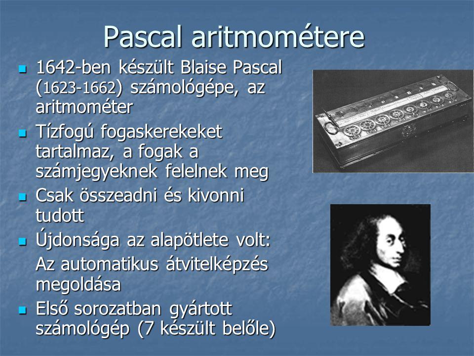 Pascal aritmométere 1642-ben készült Blaise Pascal (1623-1662) számológépe, az aritmométer.