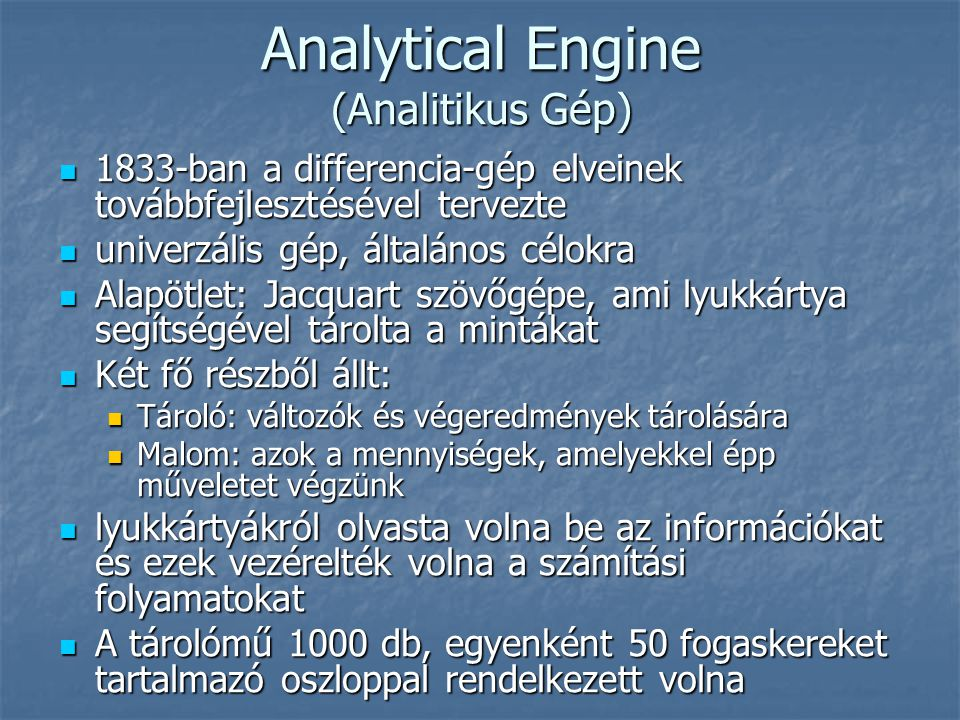 Analytical Engine (Analitikus Gép)