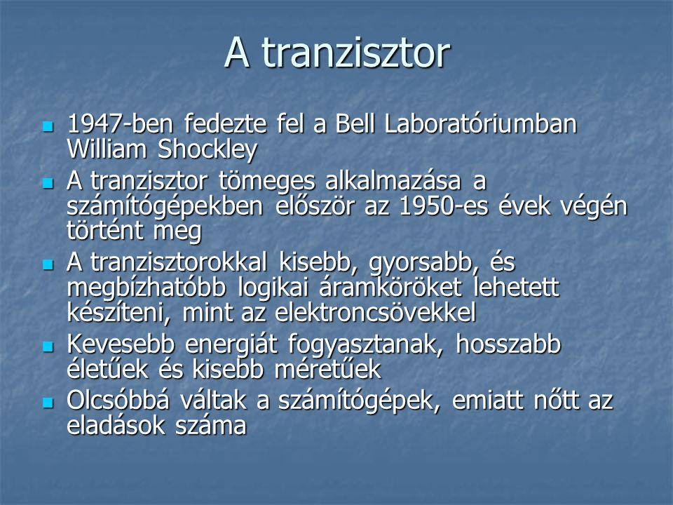 A tranzisztor 1947-ben fedezte fel a Bell Laboratóriumban William Shockley.