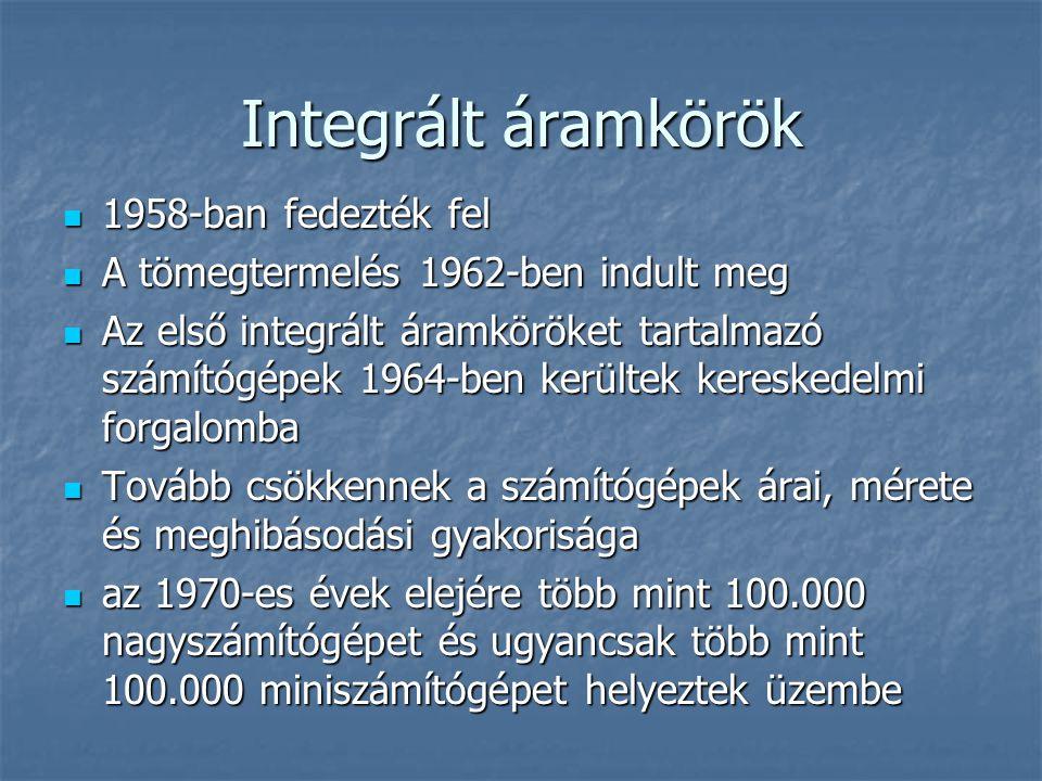Integrált áramkörök 1958-ban fedezték fel