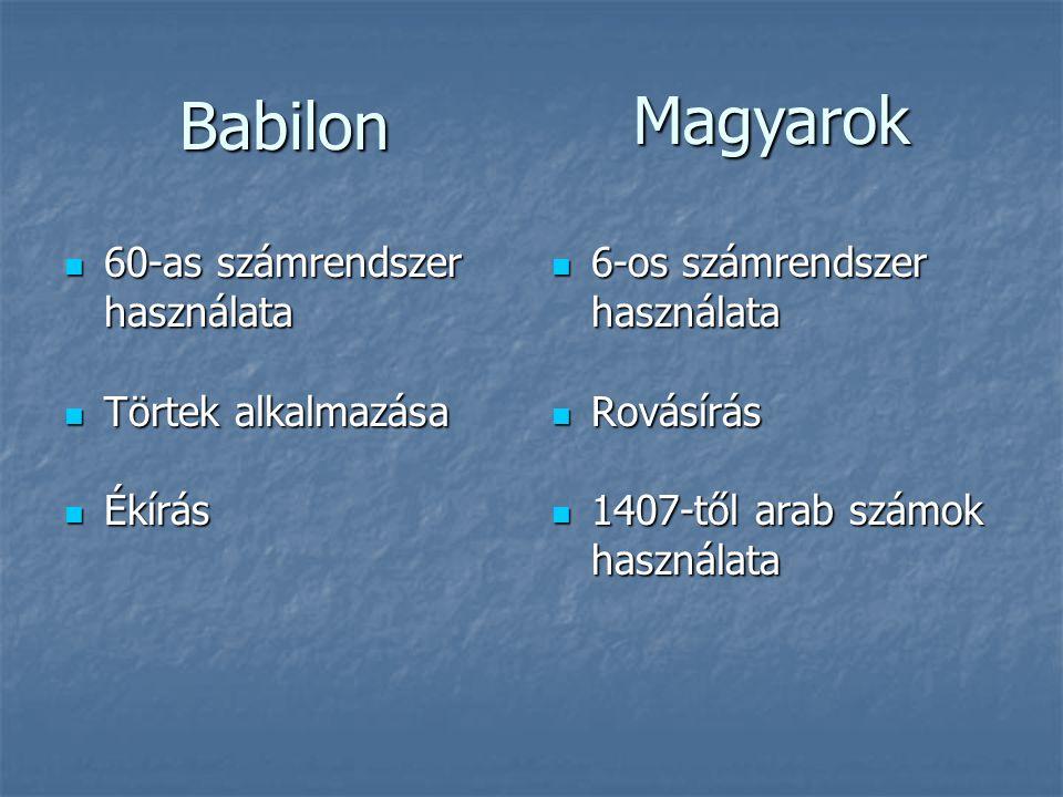 Magyarok Babilon 60-as számrendszer használata Törtek alkalmazása