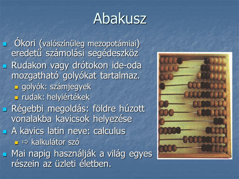 Abakusz Ókori (valószínűleg mezopotámiai) eredetű számolási segédeszköz. Rudakon vagy drótokon ide-oda mozgatható golyókat tartalmaz.