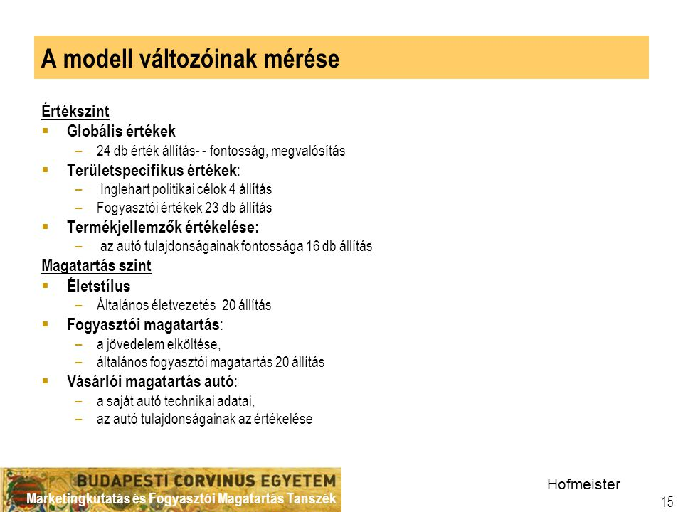 A modell változóinak mérése