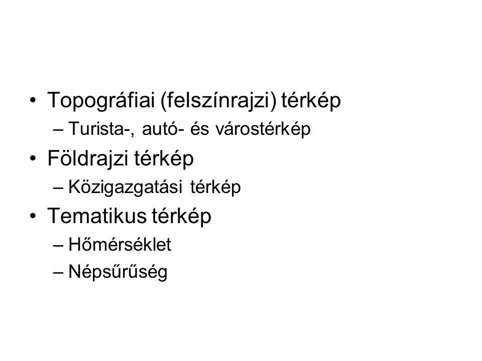 Topográfiai (felszínrajzi) térkép Földrajzi térkép Tematikus térkép