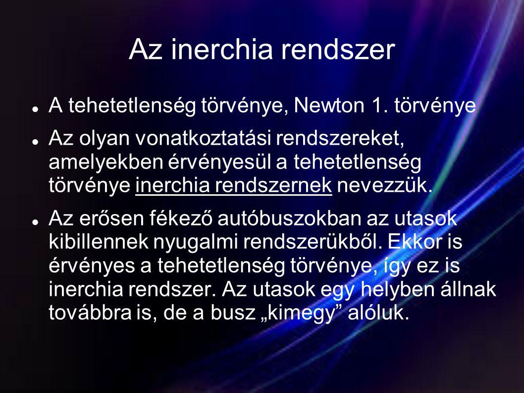 Az inerchia rendszer A tehetetlenség törvénye, Newton 1. törvénye