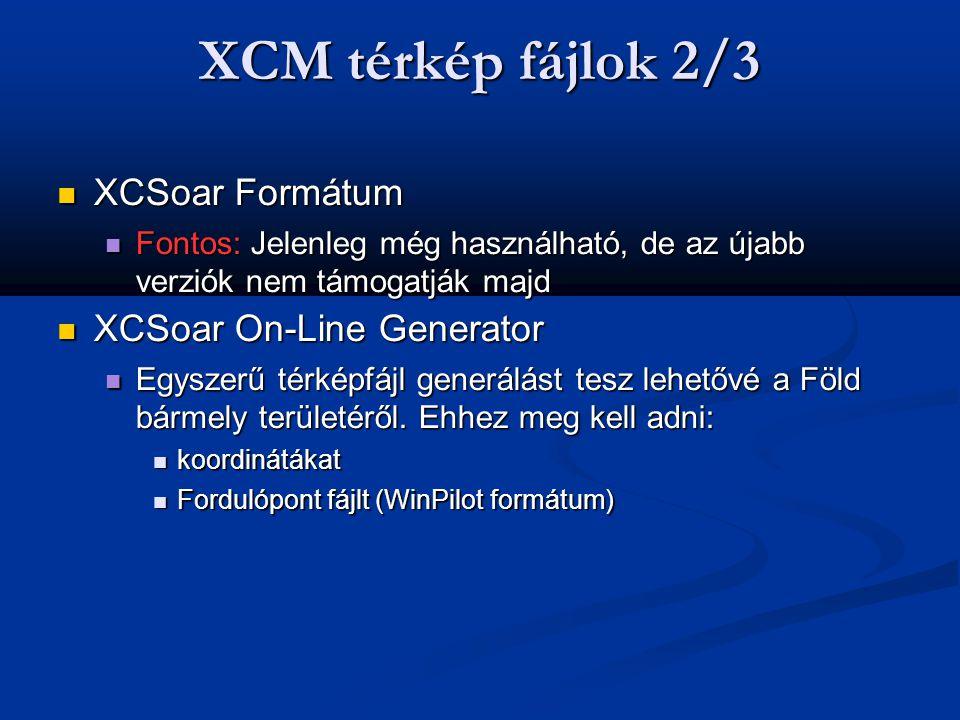 XCM térkép fájlok 2/3 XCSoar Formátum XCSoar On-Line Generator