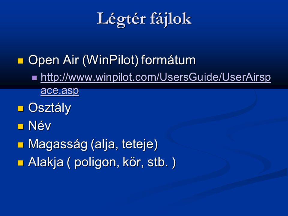 Légtér fájlok Open Air (WinPilot) formátum Osztály Név