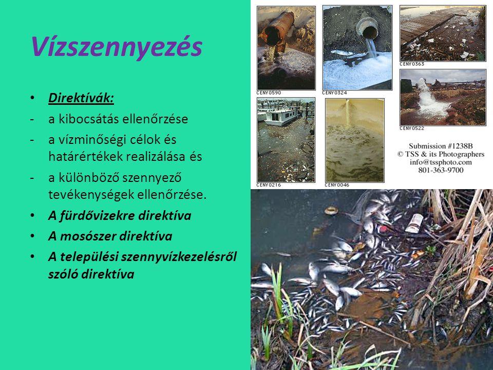 Vízszennyezés Direktívák: a kibocsátás ellenőrzése