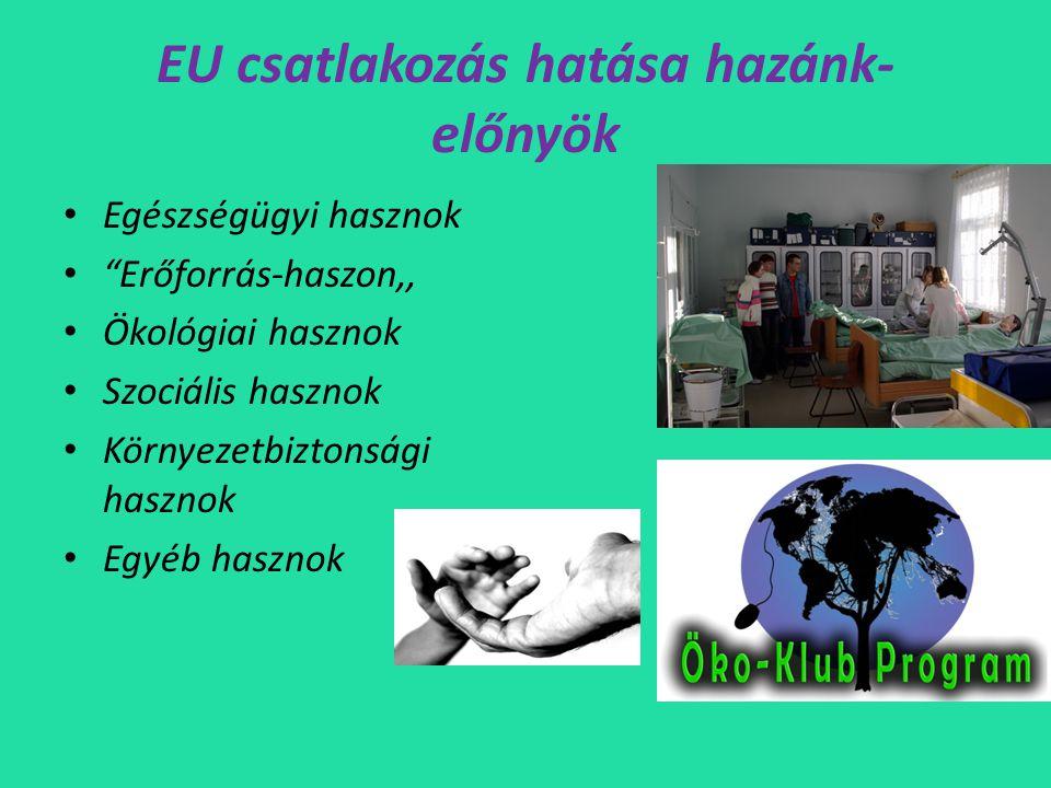 EU csatlakozás hatása hazánk-előnyök