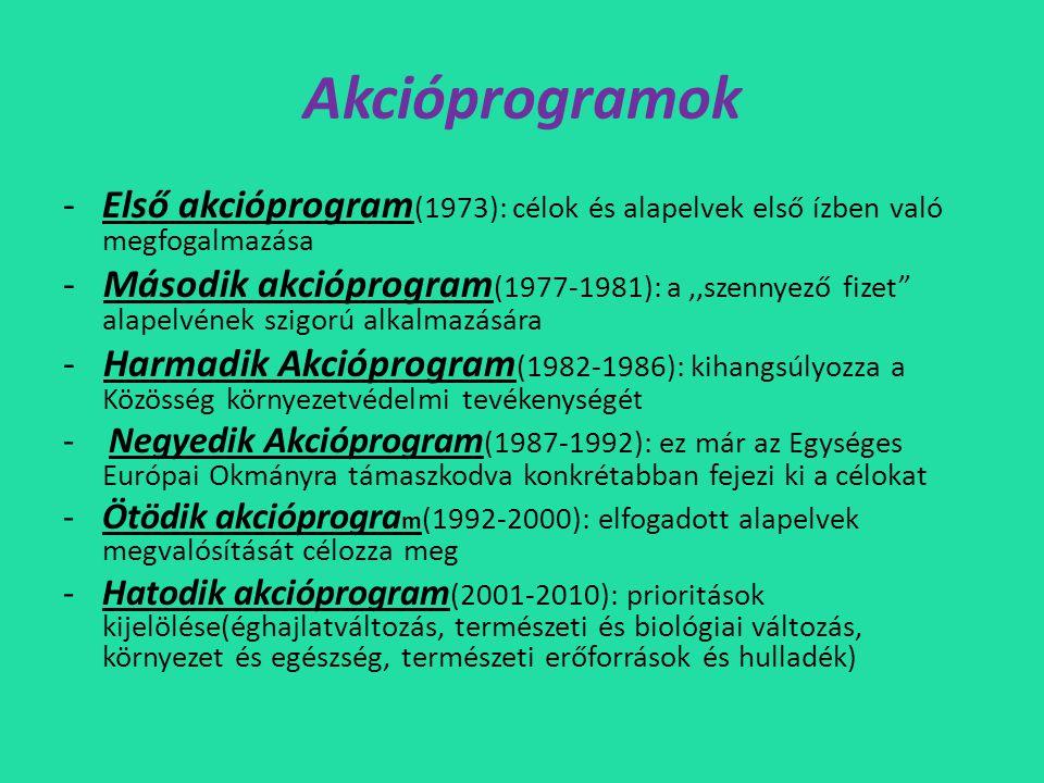 Akcióprogramok Első akcióprogram(1973): célok és alapelvek első ízben való megfogalmazása.