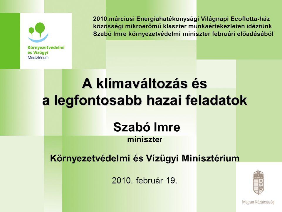 2010.márciusi Energiahatékonysági Világnapi Ecoflotta-ház közösségi mikroerőmű klaszter munkaértekezleten idéztünk Szabó Imre környezetvédelmi miniszter februári előadásából