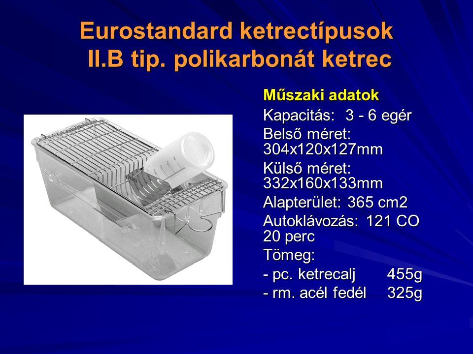 Eurostandard ketrectípusok II.B tip. polikarbonát ketrec