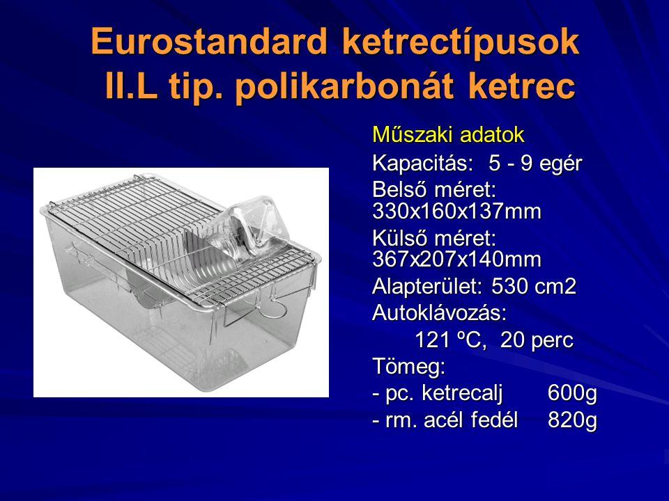 Eurostandard ketrectípusok II.L tip. polikarbonát ketrec