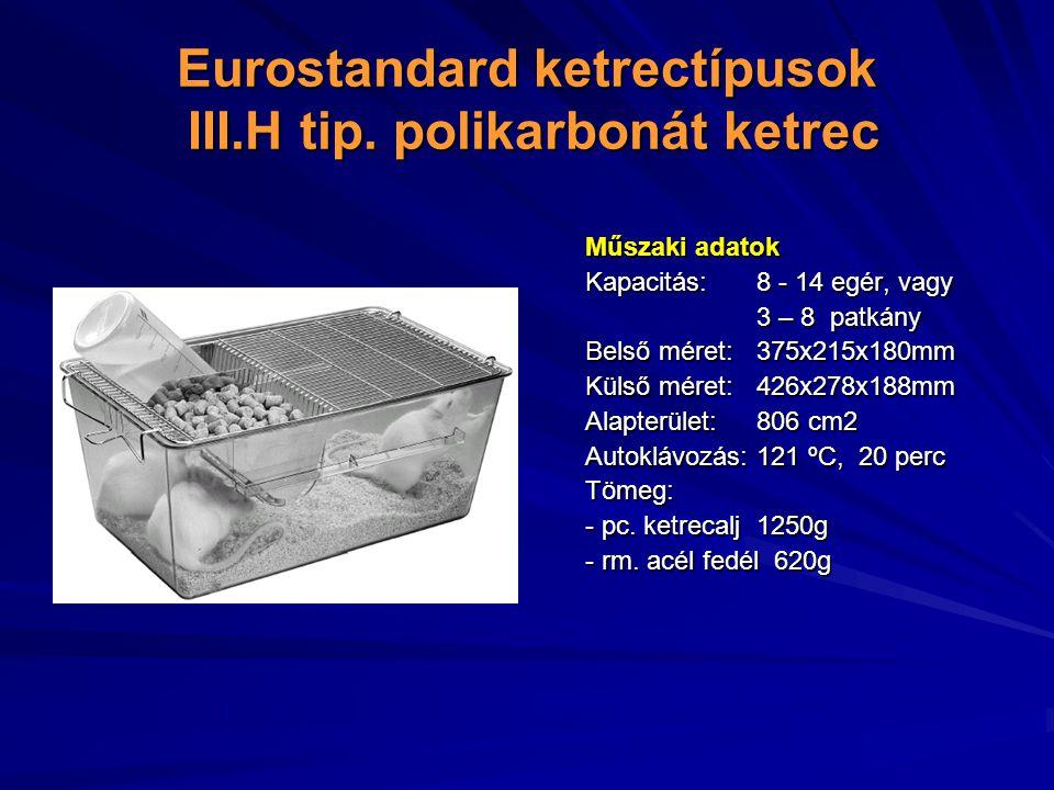 Eurostandard ketrectípusok III.H tip. polikarbonát ketrec