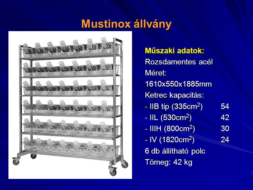 Mustinox állvány Műszaki adatok: Rozsdamentes acél Méret: