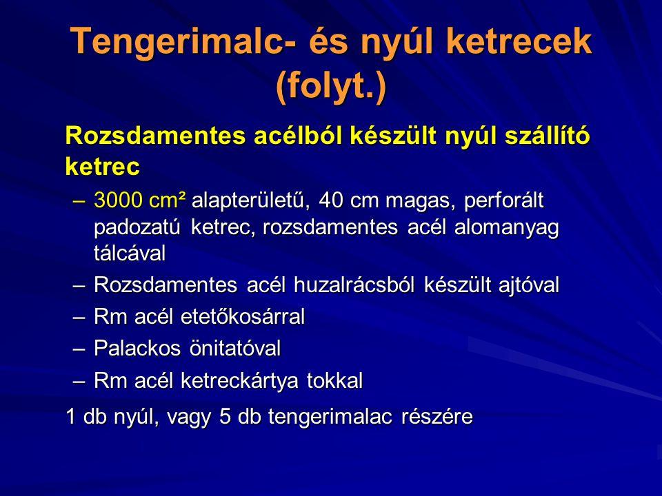 Tengerimalc- és nyúl ketrecek (folyt.)