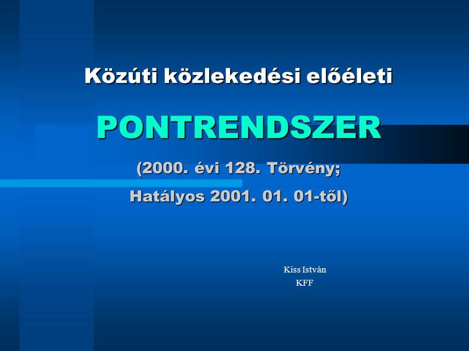 Közúti közlekedési előéleti PONTRENDSZER (2000. évi 128