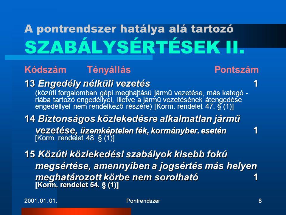 A pontrendszer hatálya alá tartozó SZABÁLYSÉRTÉSEK II.
