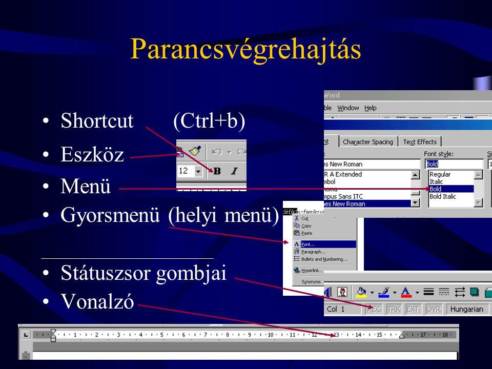 Parancsvégrehajtás Shortcut (Ctrl+b) Eszköz Menü
