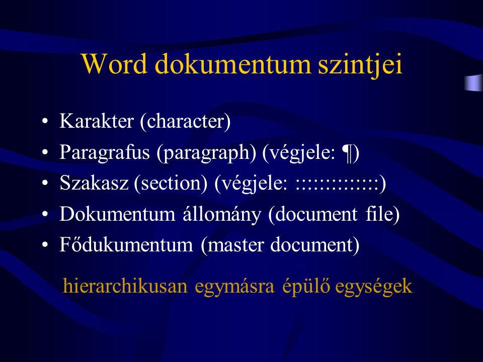 Word dokumentum szintjei