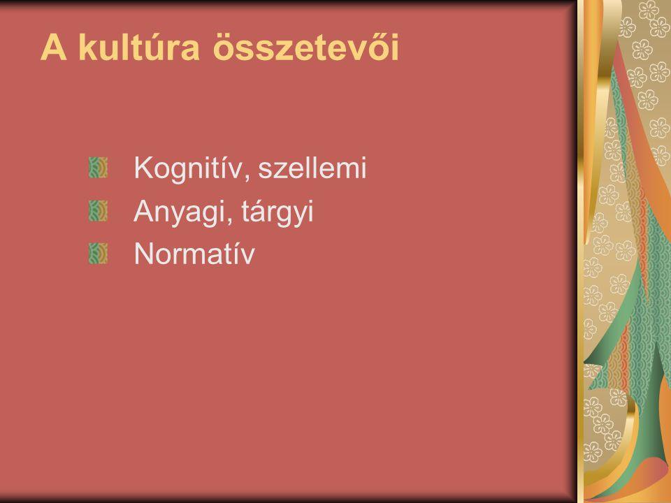 A kultúra összetevői Kognitív, szellemi Anyagi, tárgyi Normatív