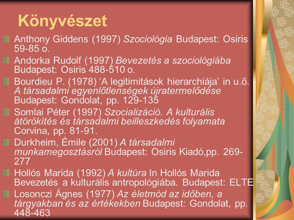 Könyvészet Anthony Giddens (1997) Szociológia Budapest: Osiris 59-85 o. Andorka Rudolf (1997) Bevezetés a szociológiába Budapest: Osiris 488-510 o.