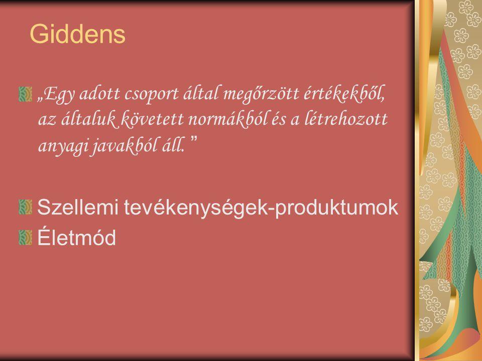 """Giddens """"Egy adott csoport által megőrzött értékekből, az általuk követett normákból és a létrehozott anyagi javakból áll."""