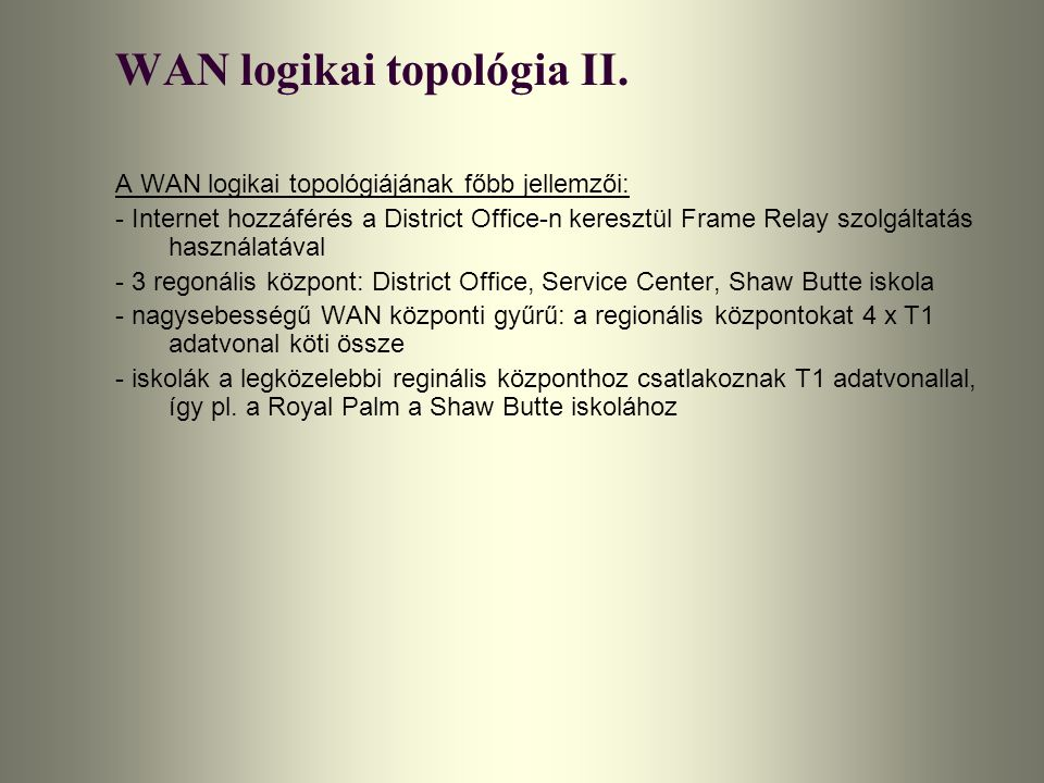 WAN logikai topológia II.