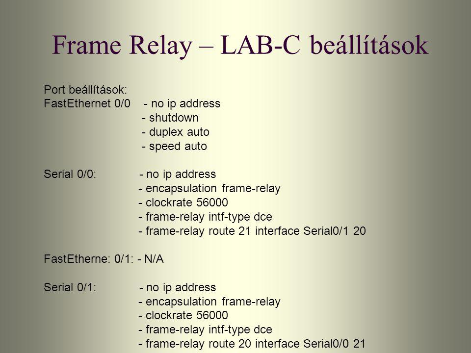 Frame Relay – LAB-C beállítások