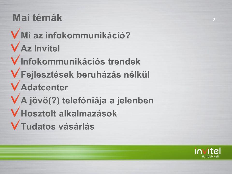 Mai témák Mi az infokommunikáció Az Invitel Infokommunikációs trendek