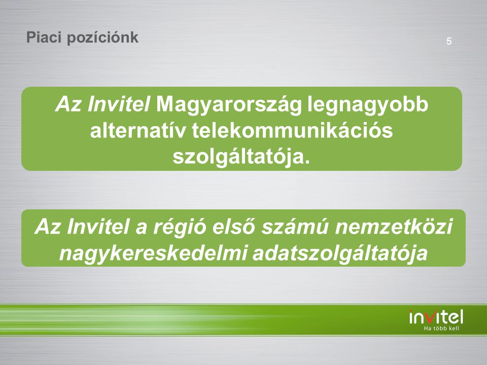 Piaci pozíciónk Az Invitel Magyarország legnagyobb alternatív telekommunikációs szolgáltatója.