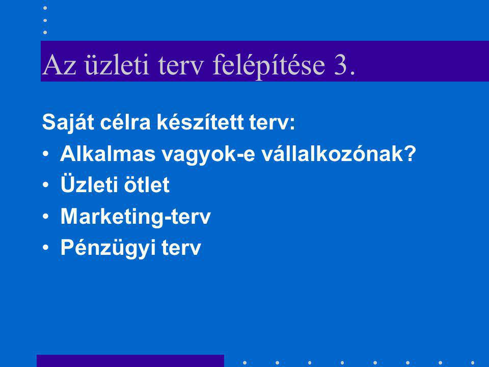 Az üzleti terv felépítése 3.