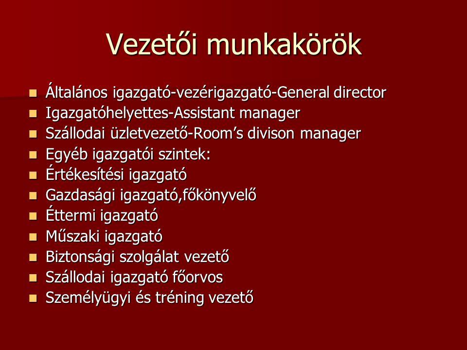 Vezetői munkakörök Általános igazgató-vezérigazgató-General director