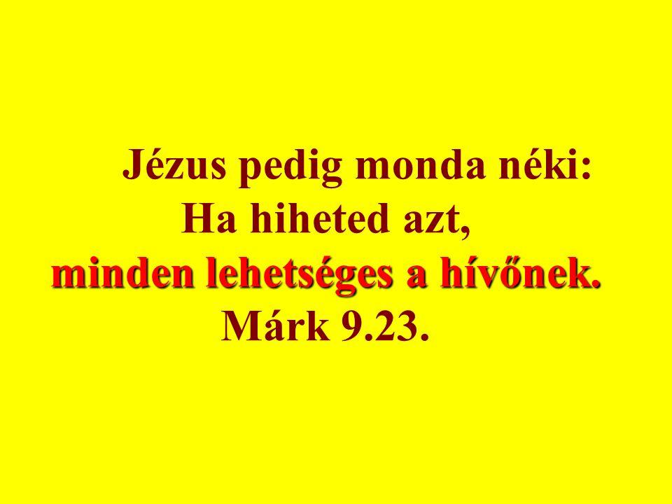 Jézus pedig monda néki: Ha hiheted azt, minden lehetséges a hívőnek