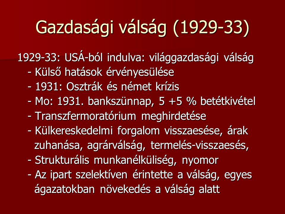 Gazdasági válság (1929-33) 1929-33: USÁ-ból indulva: világgazdasági válság. - Külső hatások érvényesülése.