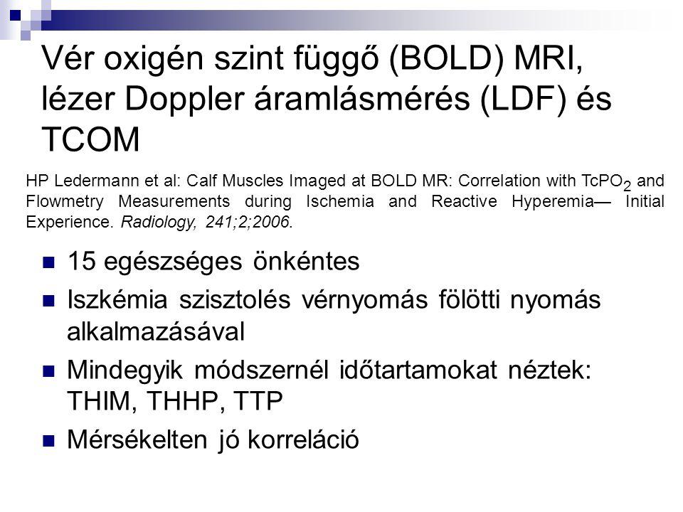 Vér oxigén szint függő (BOLD) MRI, lézer Doppler áramlásmérés (LDF) és TCOM