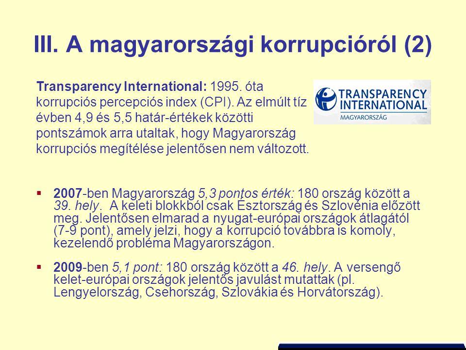 III. A magyarországi korrupcióról (2)