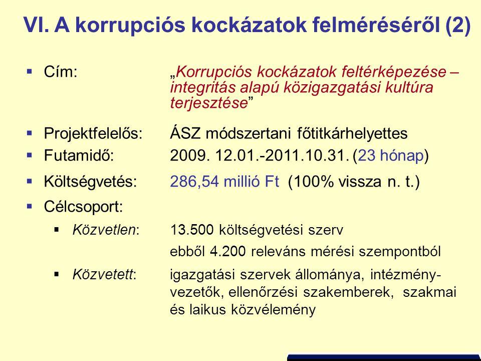 VI. A korrupciós kockázatok felméréséről (2)