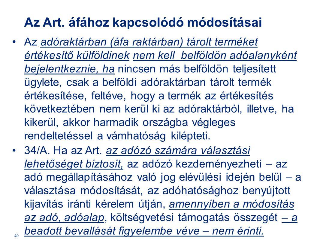 Az Art. áfához kapcsolódó módosításai