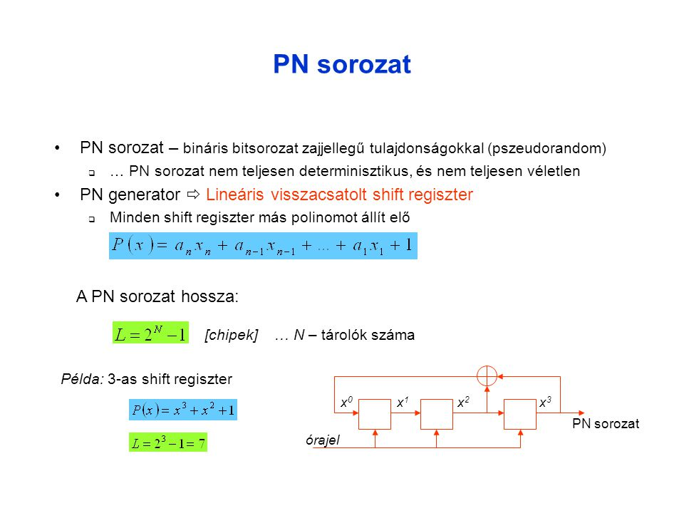 PN sorozat PN sorozat – bináris bitsorozat zajjellegű tulajdonságokkal (pszeudorandom)