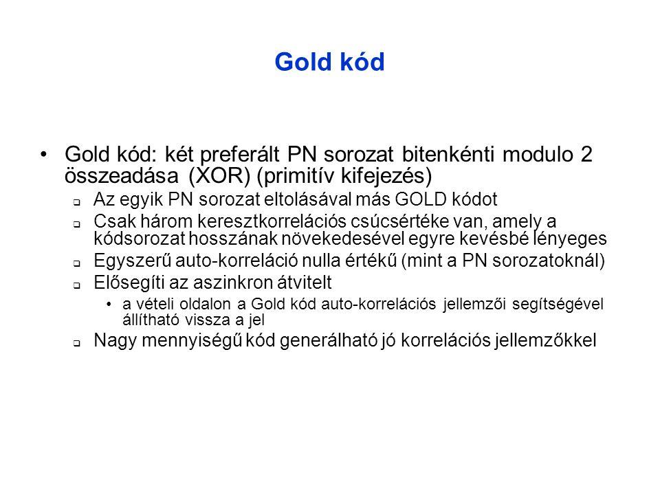 Gold kód Gold kód: két preferált PN sorozat bitenkénti modulo 2 összeadása (XOR) (primitív kifejezés)