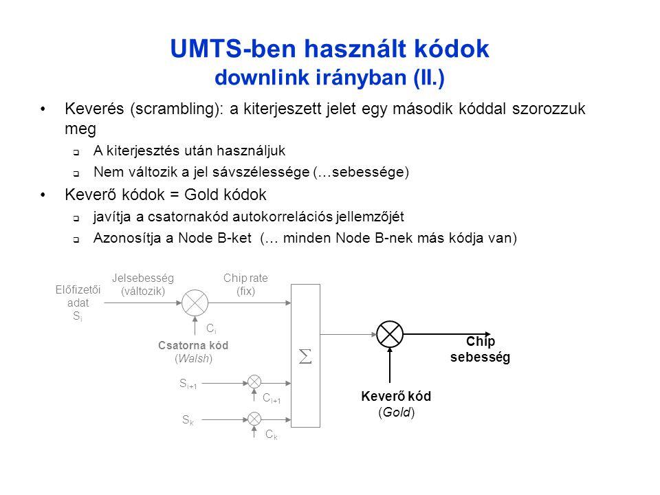 UMTS-ben használt kódok downlink irányban (II.)