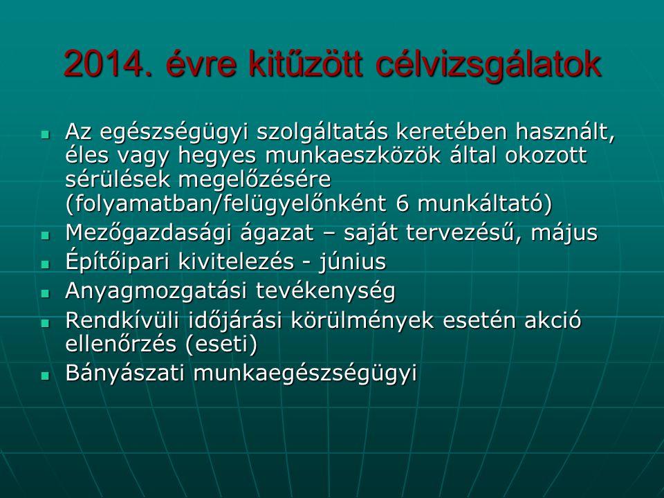 2014. évre kitűzött célvizsgálatok