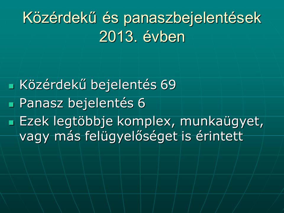Közérdekű és panaszbejelentések 2013. évben