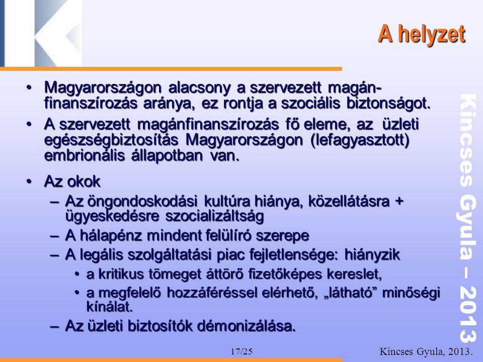 A helyzet Magyarországon alacsony a szervezett magán-finanszírozás aránya, ez rontja a szociális biztonságot.